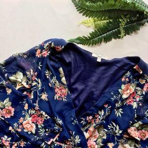 ✨Papaya Open Neck Floral Ruffle Shorts Romper